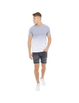 Fluid Mens Gradient Print T Shirt White/Black by Mand M Direct