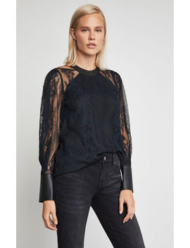 Faux Leather Trimmed Lace Top by Bcbgmaxazria