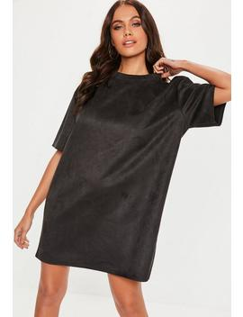 Black Oversized High Neck Suede Dress by Missguided