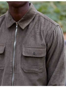 Corduroy Zip Overshirt Khaki by The Idle Man