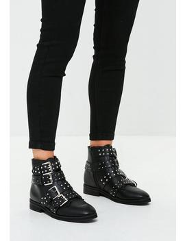 Black Studded Four Buckle Strap Ankle Boots by Missguided