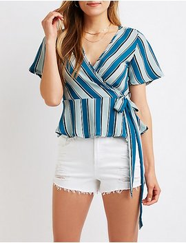 Printed Wrap Peplum Top by Charlotte Russe