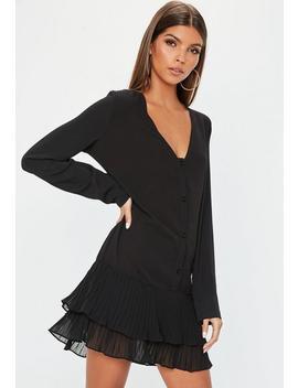 Black Pleated Hem Long Sleeve Shift Dress by Missguided