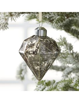 Grey Glass Diamond Ornaments With Glitter by Crate&Barrel