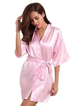 Aibrou Womens Kimono Robes Satin Nightdress Pure Colour Short Style With Oblique V Neck by Aibrou