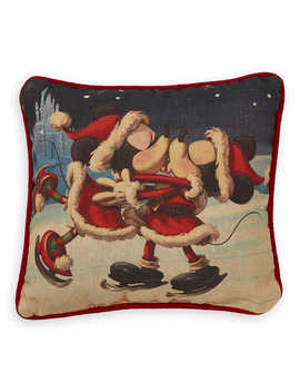Santa Mickey And Minnie Mouse Holiday Throw Pillow by Disney