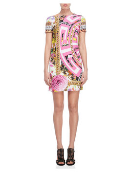 Medusa Mixed Print Shift Dress by Versace
