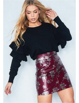 Holly Wine Floral Print Mini Skirt by Missy Empire
