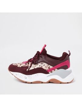 Dark Red Layered Sole Lace Up Trainers by River Island
