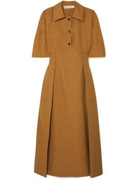 Gathered Canvas Midi Dress by Marni