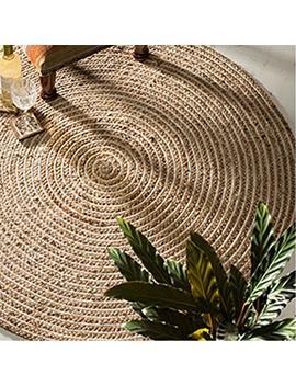 Fair Trade Round Jute & Cotton 100 Percents Braided Rug (90cm Diameter) by Indian Arts