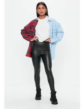 Tall Black Matte Pu Leggings by Missguided