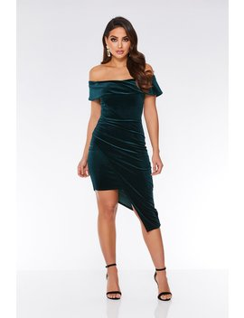 Bottle Green Velvet Wrap Asymmetrical Bodycon Dress by Quiz