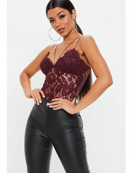 Burgundy Corded Lace Harness Bodysuit by Missguided
