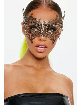 Halloween Gold Lacey Mask by Missguided