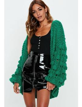 Green Premium Hand Knit Bobble Sleeve Chunky Cardigan by Missguided