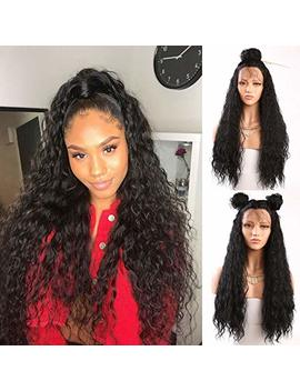 Fureya Hair Loose Curly Glueless Synthetic Lace Front Wigs For Women Heat Resistant Fiber With Baby Hair 24 Inch Natural Black Lace Wigs by Fureya Hair