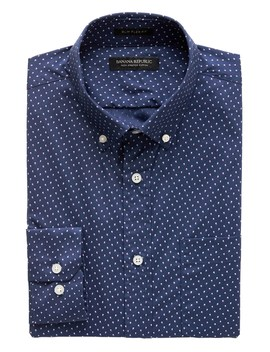 New Slim Fit Tech Stretch Cotton Dot Shirt by Banana Repbulic
