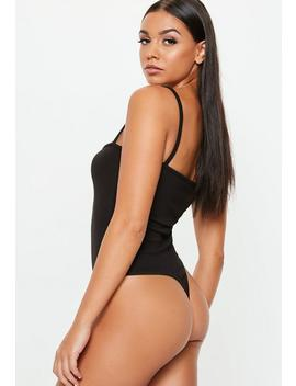 Black Strappy Straight Neck Bodysuit by Missguided