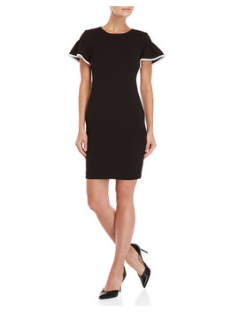 Petite Black Flutter Sleeve Dress by Calvin Klein