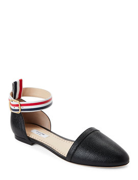 Leather D'orsay Ankle Strap Flats by Thom Browne