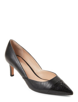 Black Delight Pointed Toe Leather Pumps by Franco Sarto