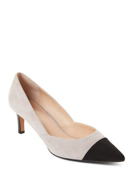 Black & Grey Delight Pointed Toe Suede Pumps by Franco Sarto