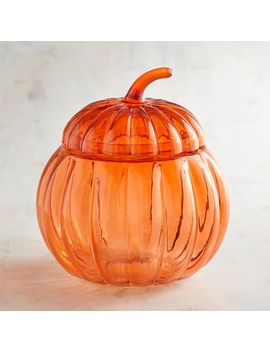 Glass Pumpkin Candy Jar by Grateful Harvest Collection