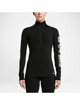 Women's Nike Pro Hyperwarm Half Zip Running Top Black Size Medium by Ebay Seller
