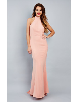 emma-pink-nude-halter-neck-fishtail-maxi-dress by jarlo