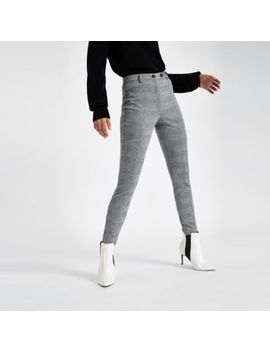 Grey Check Straight Leg Trousers by River Island