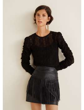 Fringed Leather Skirt by Mango