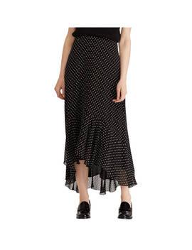 Lauren Ralph Lauren Kya Square Dot Ruffle Skirt, Black by Ralph Lauren