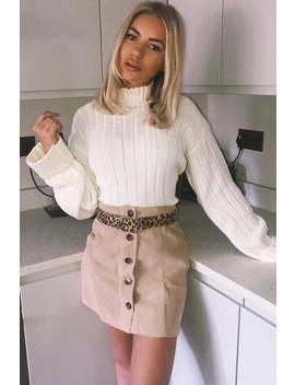 Beige Corduroy Button Front Mini Skirt   Elcie by Rebellious Fashion