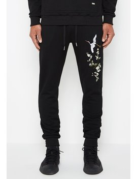 Embroidered Birds Tracksuit Joggers   Black by Maniere De Voir