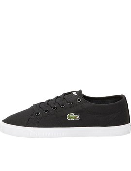 Lacoste Womens Riberac Canvas Trainers Black/Black by Mand M Direct