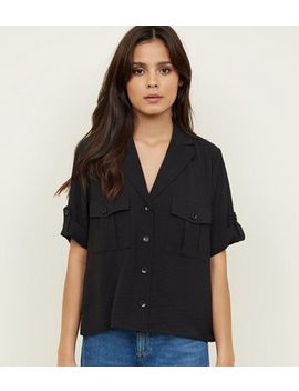 Black Pocket Front Boxy Shirt by New Look