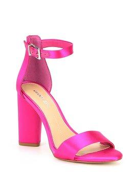 Joenah Satin Ankle Strap Block Heel Dress Sandals by Gianni Bini