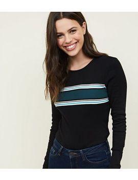 Black Block Stripe Long Sleeve Top by New Look