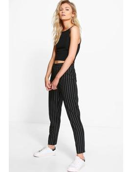 Petite Stripe Tapered Trouser by Boohoo