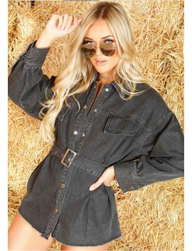 Gemma Black Denim Shirt Dress by Missy Empire