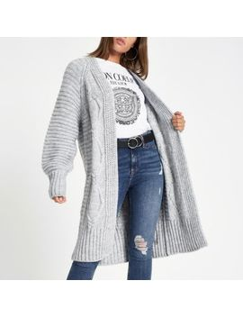 Grey Cable Knit Longline Maxi Cardigan by River Island
