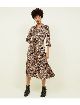 Brown Leopard Print Satin Midi Shirt Dress by New Look