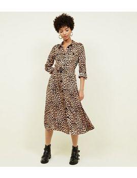 Brown Leopard Print Satin Midi Shirt Dress by New Look