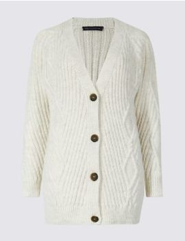 Cable Knit Longline Cardigan by Marks & Spencer