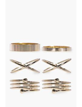 Simple Stackable Mixed 6 Ring Set by Boohoo