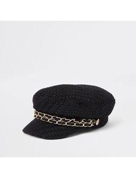 Black Double Chain Baker Boy Hat by River Island