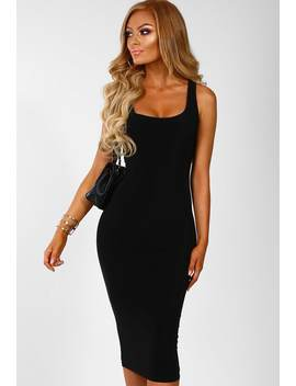 Crime Of Passion Black Slinky Bodycon Midi Dress by Pink Boutique
