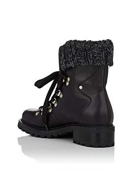 Leather &Amp; Wool Lace Up Ankle Boots by Barneys New York