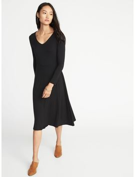 Fit & Flare Jersey Midi For Women by Old Navy